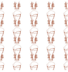 Seamless pattern with a glass of foamy beer vector