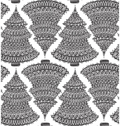 Seamless pattern with hand drawn doodle christmas vector image