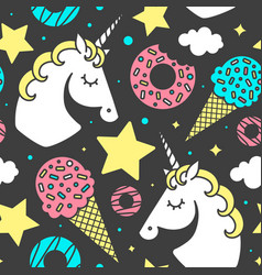 Seamless pattern with unicorn on black background vector