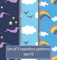 Set of cartoon seamless backgrounds on the theme o vector