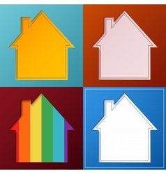 Set of four simple abstract house backgrounds vector