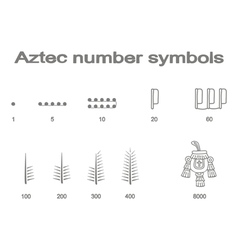 Set of monochrome icons with Aztec number symbols vector image