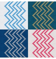 Set of Seamless Knitted Pattern Knit Texture vector image