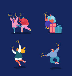 Set people characters celebrating christmas vector