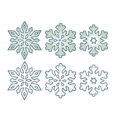 set snowflakes with three different ornaments vector image