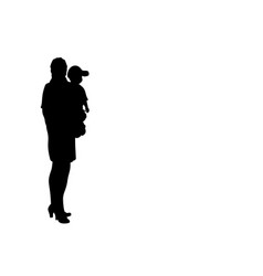 silhouette business mum with little boy son vector image