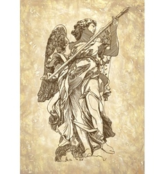 sketch digital drawing marble statue of angel vector image