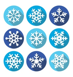 Snowflakes Christmas flat design round icons vector image