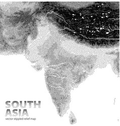 Stippled relief map south asia vector