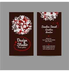 Style business card with floral bouquet vector image