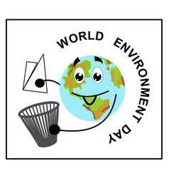 stylized planet earth cartoon flat garbage vector image