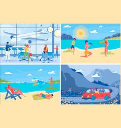 summer vacation at seashore backgrounds set vector image