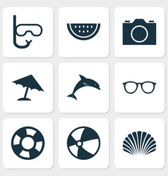Sun icons set collection tube conch dinghy vector