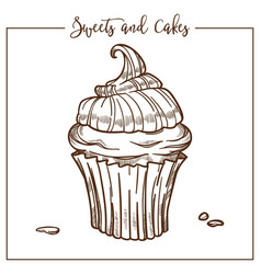 Sweets and cakes cupcake with creamy top and drop vector