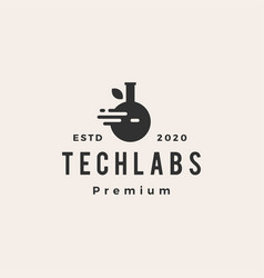 tech lab labs leaf hipster vintage logo icon vector image