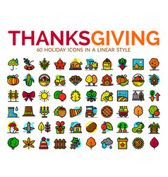 Thanksgiving day icons set vector