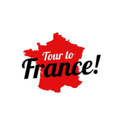 tour to france - logo with french contour map vector image