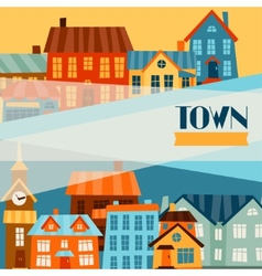 Town background design with cute colorful houses vector