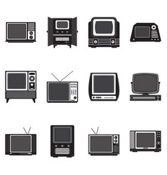 Vintage television solid icons vector