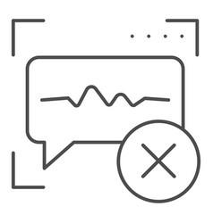 Voice recognition denied thin line icon sound vector