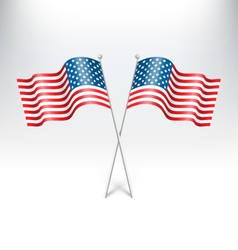 Wavy USA national flags on grayscale vector image