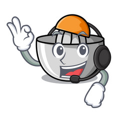 With headphone juicer mascot cartoon style vector