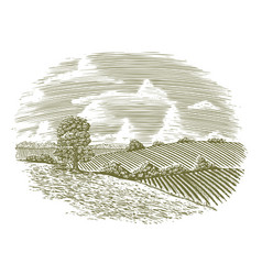 Woodcut vintage countryside vector