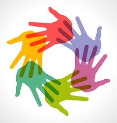 Icon of colorful hand prints vector image vector image