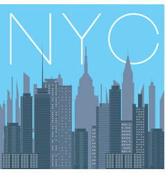 nyc- panorama of new york city vector image