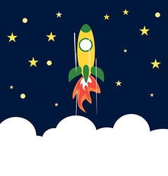 Rocket Flying Up to Space Concept of Success vector image