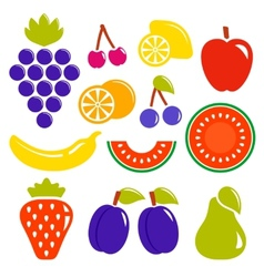 set isolated fruit icons vector image