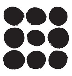 Set of black round ink stains Grunge circles vector image