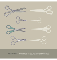 Set of colorful scissors and silhouettes vector image