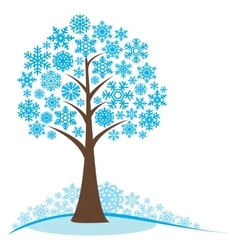 Winter tree with snowflakes vector image