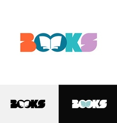 Books word text logo with open book silhouette vector image vector image