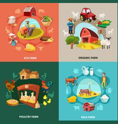 farm cartoon concept set vector image vector image