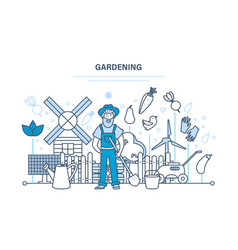 gardening garden elements farm eco products vector image vector image
