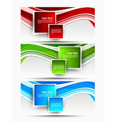 Set of wavy banners with squares vector image