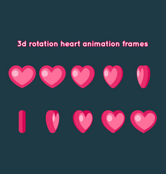valentine day 3d heart rotation animation frames vector image vector image