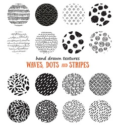Big set of hand drawn textures for abstract design vector image vector image