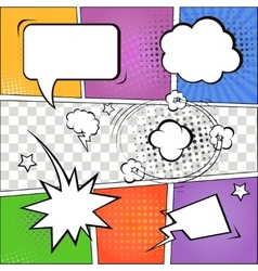 Comic speech bubbles and comic strip on colorful vector image vector image