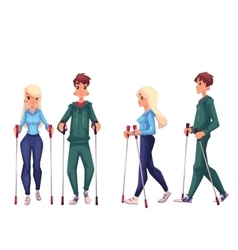 Couple of young male and female adult nordic vector image