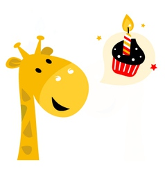 Cute party Giraffe with cupcake isolated on white vector image vector image