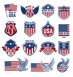 made in usa labels emblems with american symbols vector image