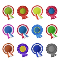 Set of blank award rosettes with ribbon vector image