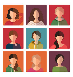 young girls avatar icons set vector image vector image