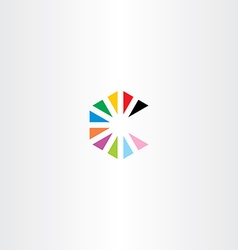 colorful letter c with triangles logo vector image