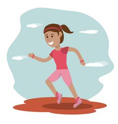 girl runner sport school education vector image vector image
