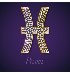 Golden pisces zodiac signs vector