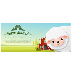 rural landscape background with sheep vector image vector image